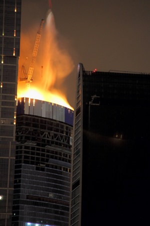 Fire  High-rise building  Moscow  Stock Photo - 13226303