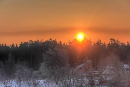 Winter dawn, Sunrise    photo