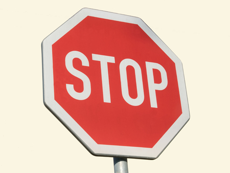 Traffic sign of stop, warning Stock Photo