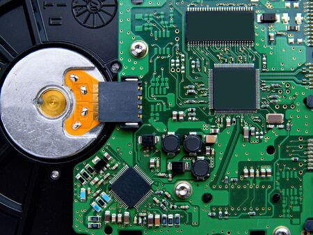 harddrive: Detail of circuit board of computer harddrive