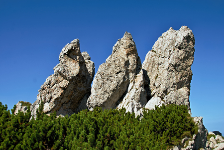 Mountains, triple rock with blue sky Stock Photo