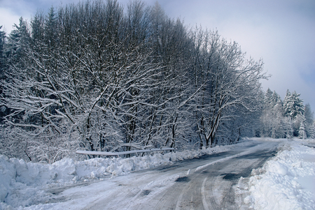 Winter road with snow and ice Stock Photo