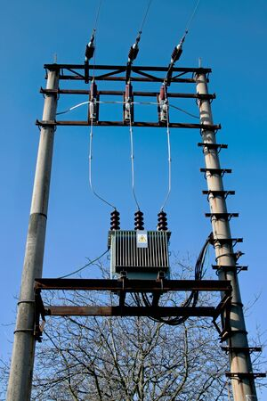 High voltage transformer on the pole
