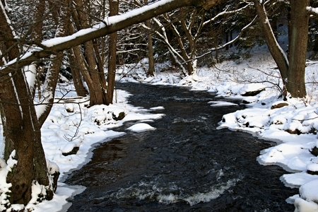 winter creek with snow and ice