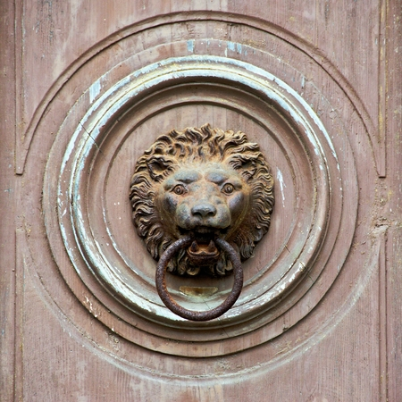 Old knocker - a lions head with an iron ring in his mouth