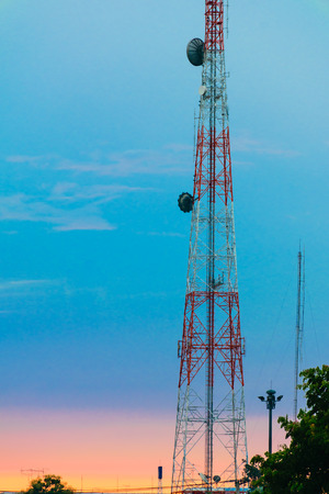 transmitter: landscape of The telephone transmitter  with colorfull skies Stock Photo