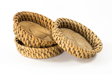 wickerwork: Native asian style bamboo Bamboo coasters,  natural wickerwork Stock Photo