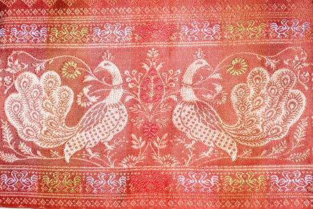 traditional pattern: Embroidered traditional pattern swans Stock Photo