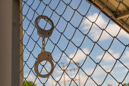 shackle: A shackle on the prison door Stock Photo