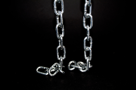 chain isolated on a black background 스톡 콘텐츠