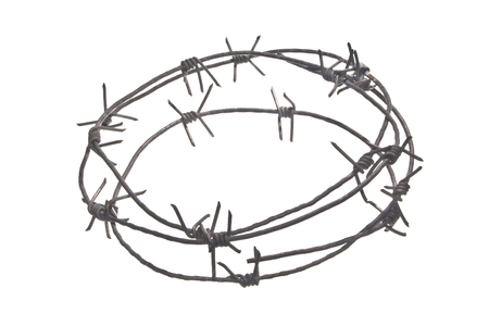 barbed wire isolated on white background Imagens