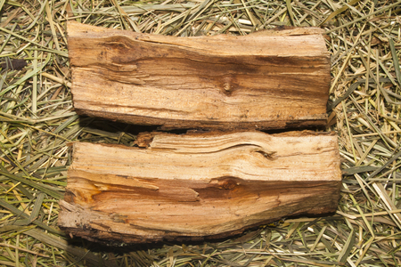 firewood on the background of dry grass 스톡 콘텐츠