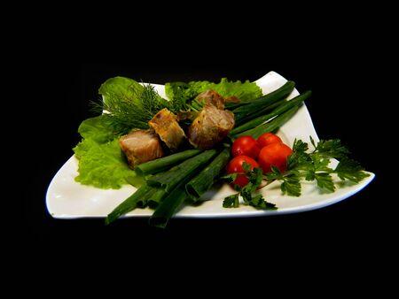 spring salad isolated on black background Stockfoto