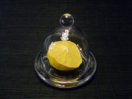 lemon isolated on black background Stock Photo