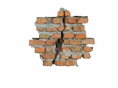 destroyed old red brick walls