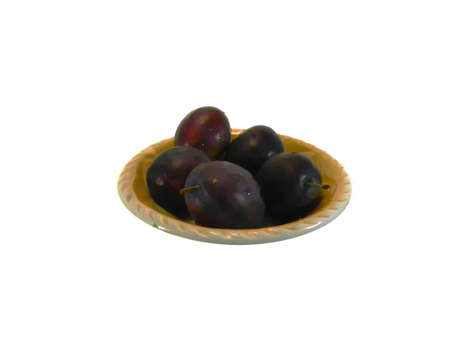 blue plums isolated on white background