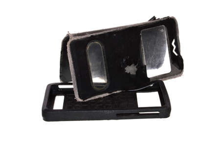 old phone case isolated on white background