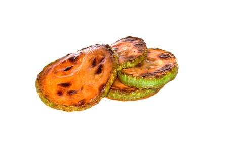 fried vegetables isolated on white background