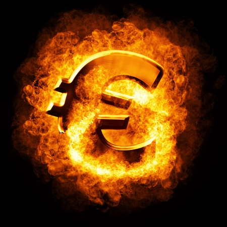 burning money: Financial crisis.  Burning broken gold euro