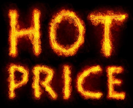 Words HOT PRICE created by fire flame on black background photo