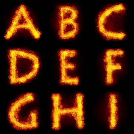 Fiery Font. Bright flamy font symbol. For writing words use Screen blending mode