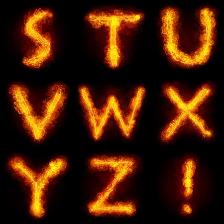 Fiery Font. Bright flamy font symbol. For writing words use Screen blending mode photo