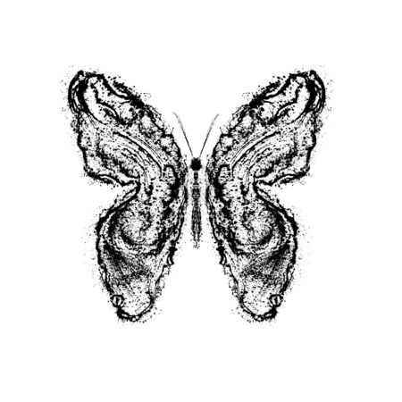 Abstract butterfly. Grunge splash draw paint Stock Photo - 12069465