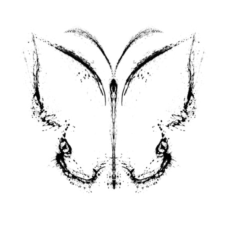 Abstract butterfly. Grunge splash draw paint Stock Photo - 12069456