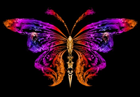 Abstract silhouette of a butterfly drawn by color smoke Stock Photo - 12069469