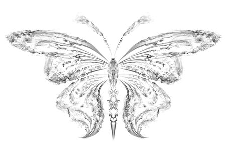 Abstract silhouette of a butterfly drawn by the smoke Stock Photo - 12069457