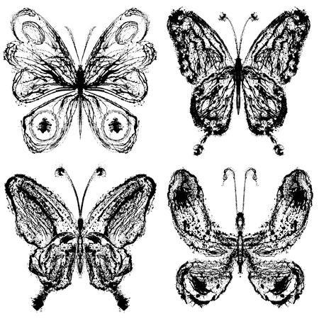 Abstract  butterfly grunge draw set Stock Photo - 12069473