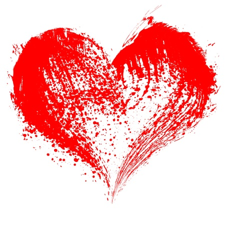 Abstract Valentine red heart on white background photo