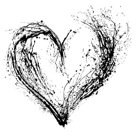 black and white backgrounds: Abstract Valentine black heart on white background Stock Photo