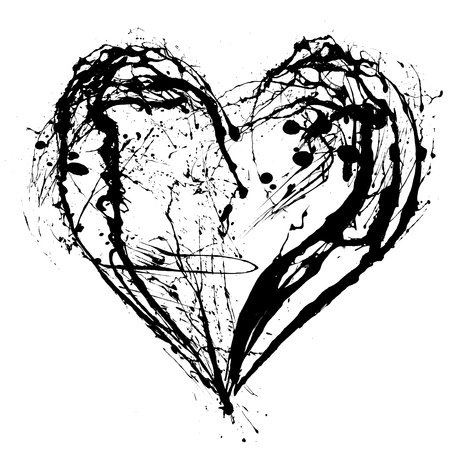abstract heart: Abstract Valentine black heart on white background Stock Photo