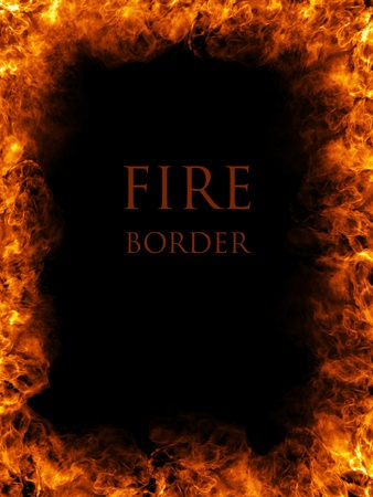 orange inferno: Fire border, abstract fiery background