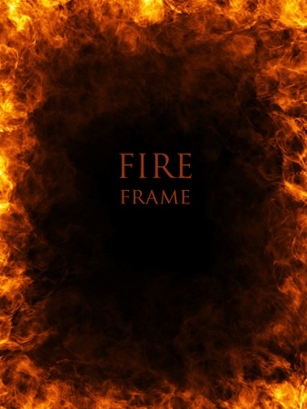 Fire frame, abstract fiery background