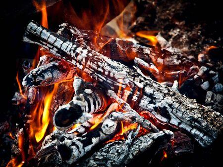 coals: Closeup of hot burning wood, coals.