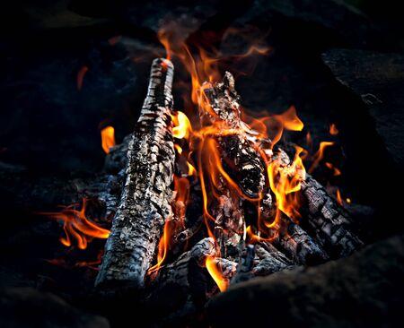 Closeup of hot burning wood, coals.