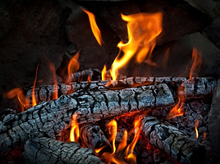 Closeup of hot burning wood, coals.