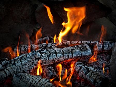 embers: Closeup of hot burning wood, coals.