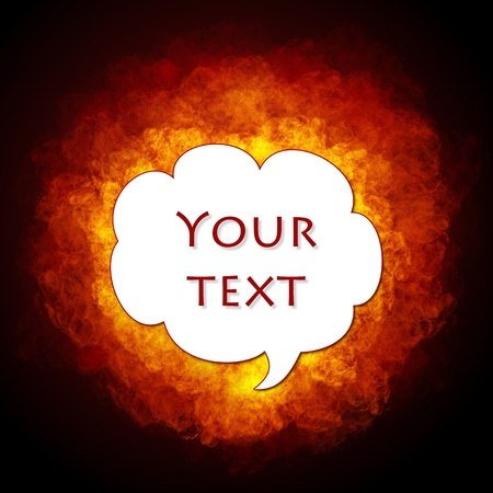 flamy:  Bright flamy text bubble on black background Stock Photo
