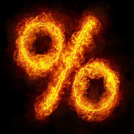 flame letters: Fiery Font. Bright flamy percent symbol on black background