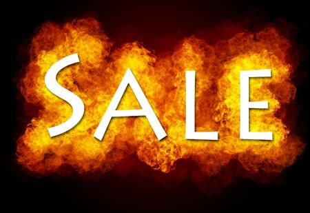 sellout: Word SALE on fire background Stock Photo