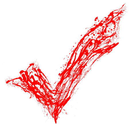 Red tick painted by splashes photo