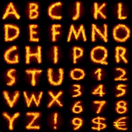 ardent: Alphabet Fiery Imposta. Carattere Flamy su sfondo nero Archivio Fotografico
