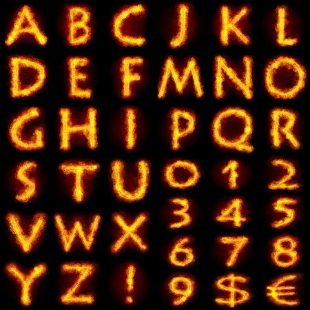 Fiery Alphabet Set. Flamy font on black background