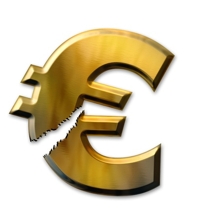 Financial crisis. Broken euro on white background photo