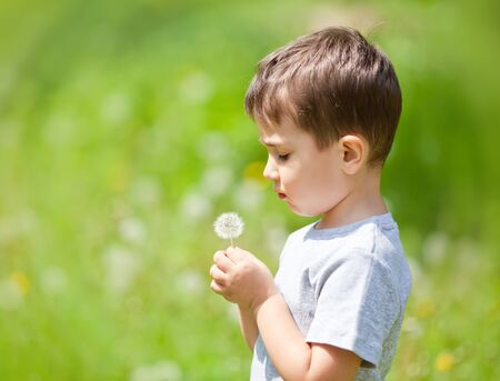 Little cute boy looks on dandelion on blurred nature background photo