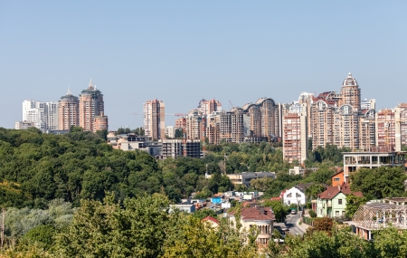 Panorama of new houses of ancient city Kiev. Ukraine photo