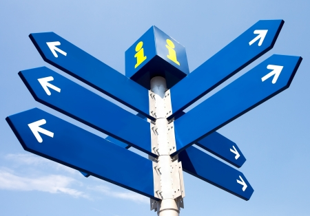 Blank directional road signs over blue sky photo